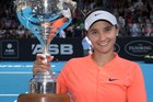 American Lauren Davis holds the ASB Classic trophy after beating Ana Konjuh. Photo / Nick Reed