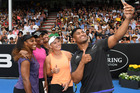 All Black Julian Savea takes a selfie with Caroline Wozniacki, Venus and Serena Williams and his brother Ardie at the charity tennis match up in Auckland. Photo / Doug Sherring