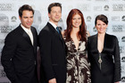 Eric McCormack, Sean Hayes, Debra Messing and Megan Mullally together in 2006 after the show last aired on TV. Photo/AP