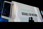 George Zhao, President of Honor, unveils the Honor 6X smartphone at CES preview. Photo / AP