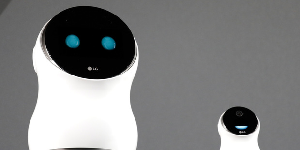 The LG Hub Robot & Mini are unveiled during an LG news conference before CES International. Photo / AP