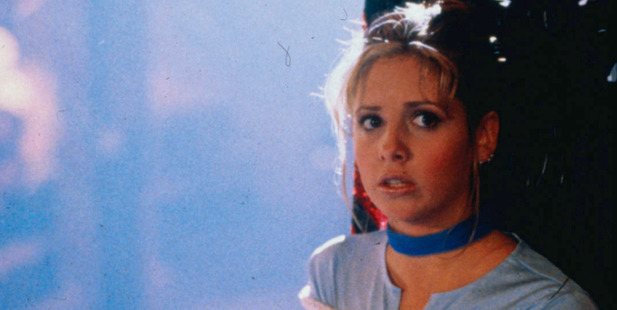 Sarah Michelle Geller as Buffy in the television series, Buffy the Vampire Slayer.