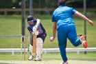 Central Indians' co-captain Andrew Gibbs, pictured earlier in the season bowling out Te Puke's Kurt Lansdown. PHOTO/FILE