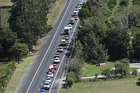 Holidaymakers are facing long queues travelling between Puhoi and Warkworth today.  Photo / Greg Bowker