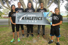 The contingent representing Kaitaia Athletics Club at the Colgate Games in Hastings includes Mateja Matijevich (back middle), Phoenix Cassidy and Alexander Campbell Lewis and instructors Joanna Campbell and Pippa Campbell.