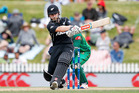 Kane Williamson bats during an international match between New Zealand and Bangladesh. Photo / Martin Hunter