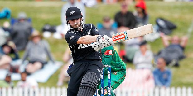 Kane Williamson bats during an international match between New Zealand and Bangladesh. Photo / Martin Hunter