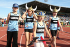 Dannevirke athletes Rebekah Irwin (L), Olivia Augustine, Georgie Hogan and Ella Hogan take part in the Colgate Games opening ceremony at Hawke's bay Regional Sports Park.  PHOTO/DUNCAN BROWN