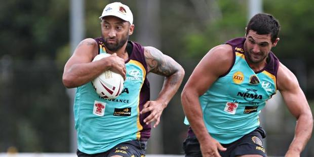 Benji Marshall (L) wearing his club's bold new colours. Photo / News Corp Australia