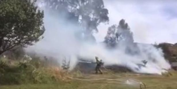 Crews were alerted to the blaze in Kaiti shortly before 2pm. Photo / via Facebook