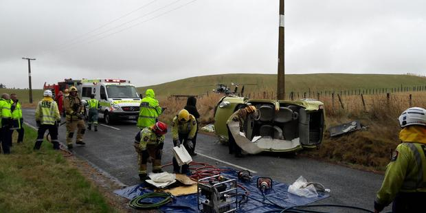 The car accident happened around 2pm at Flemington, south of Waipukurau. The man was flown to Hawke's Bay Hospital. PHOTO/HAWKE'S BAY RESCUE HELICOPTER TRUST