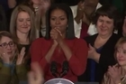 """First Lady Michelle Obama held her last formal event at the White House Friday. Obama got emotional as she told the crowd to """"lead by example with hope, never fear."""
