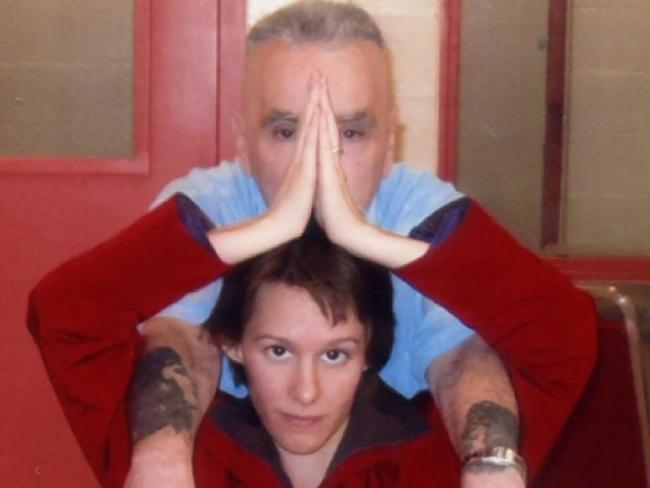 Star poses in Corcoran Prison with Charles Manson. Photo / Manson Direct