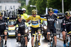 Chris Froome and his SKY team during the stage 21 of the 2015 Tour de France. Photo/Photosport