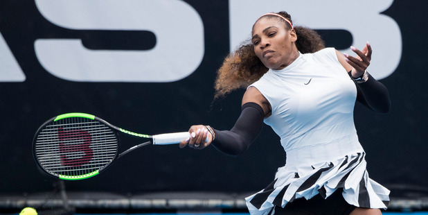 Serena Williams in action during her first round win at the ASB Classic. Photosport