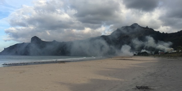 Firefighters are investigating a blaze on Marlin Drive, in Taupo Bay, shortly before 7pm yesterday. Photo / Sarah mann
