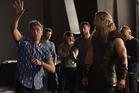 Taika Waititi on the set of Thor: Ragnarok with actor Chris Hemsworth. Photo/Marvel Studios