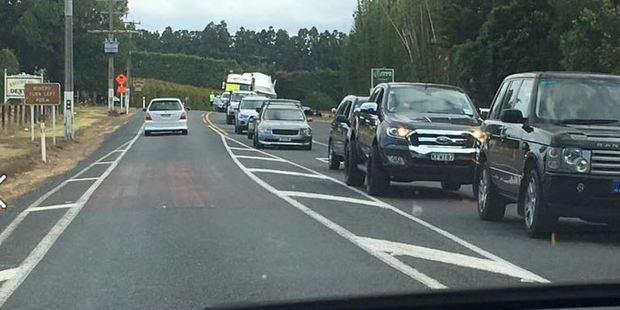 The traffic backed up near Kerikeri. Photo / via Facebook