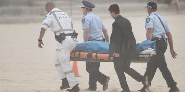 The body of Tui Gallaher is retrieved by police at Maroubra Beach. Photo / Supplied