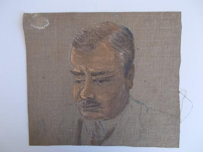Oil sketch of Frances' father 'William Hodgkins' found on reverse of Dorothy Selby painting.