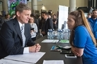 Prime Minister Bill English talking with student Roselle Usherwood during his visit to Victoria University in Wellington. 09 March 2017. New Zealand Herald photograph by Mark Mitchell