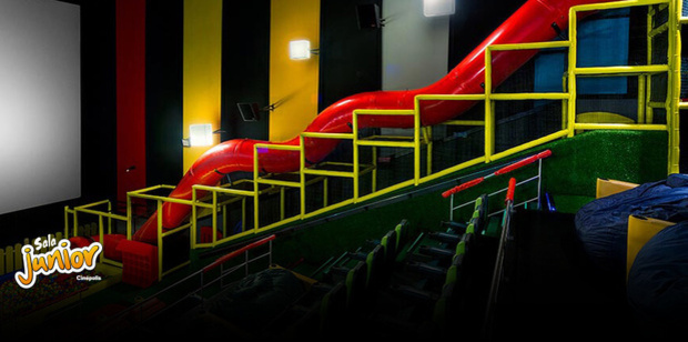 These cinemas are decked out with bean bags, plastic ball-pits and a big slide that runs the length of the cinema. Photo / Supplied