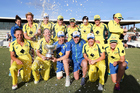 Australia celebrate with the Rose Bowl Trophy. Photo / Photosport