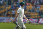 Australia's captain Steven Smith leaves the ground after being dismissed. Photo / AP