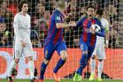 Barcelona's Neymar celebrates after PSG's Layvin Kurzawa scored an own goal. Photo / AP
