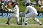 New Zealand's Kane Williamson plays a sweep shot during the first cricket test against South Africa at University Oval, Dunedin, New Zealand, Thursday, March 9, 2017. (AP Photo/Mark Baker)