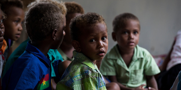 Children at the early childhood education school in Forau. Photo / Mike Scott