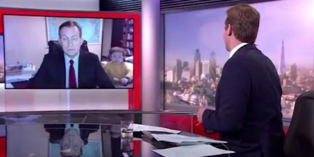 Loading Robert Kelly's live BBC interview gets interrupted by dancing toddler and baby. Photo / BBC, Facebook