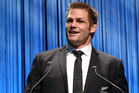 All Black Captian Richie McCaw speaks during the 2015 Steinlager Rugby Awards. Photo / Michael Bradley / Getty Images
