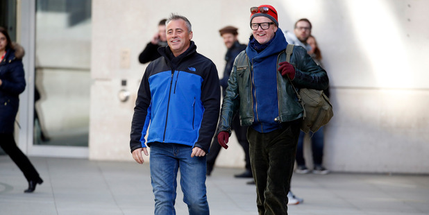 Matt Le Blanc and Chris Evans seen filming scenes for 'Top Gear' at the BBC. Photo / Getty