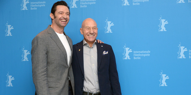 Actors Hugh Jackman and Patrick Stewart attend the 'Logan' photo call. Photo / Getty