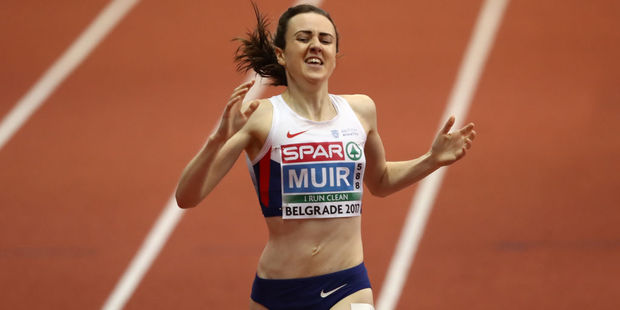 Loading Laura Muir of Great Britain eventually got to run her victory lap after winning gold. Photo / Getty