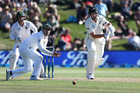 Ross Taylor's stay at the crease was curtailed by a calf injury. Photo / Getty