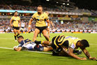 Wharenui Hawera of the Brumbies scores a try. Photo / Getty