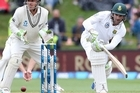 Dean Elgar took South Africa to a position of parity on day four against New Zealand. Source: Sky TV