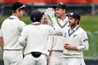 The Black Caps celebrate the dismissal of Dean Elgar late on day four. Photo / Getty