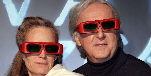 Director James Cameron (R) and his wife Suzy Amis (L) attend the Avatar Premiere. Photo / Getty