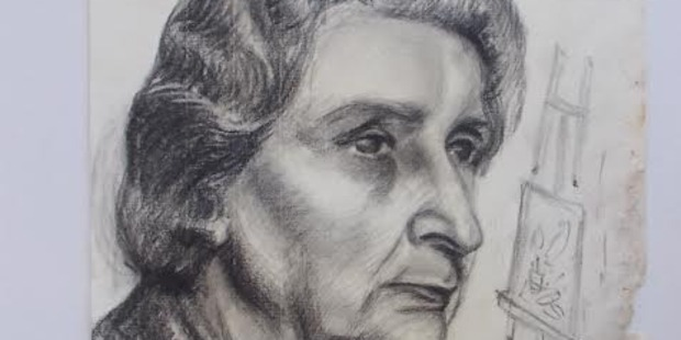 A charcoal self-portrait of Frances Hodgkins in her latter years, one of the artist's works recovered in an English attic two years ago.