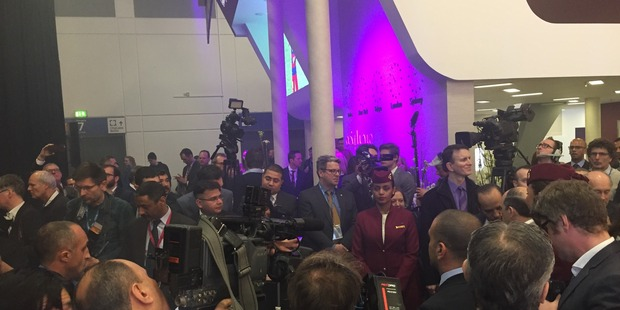Some events such as the unveiling of Qatar Airways' new business class suites led to a media scrum. Photo / Grant Bradley