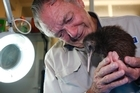 Robert Webb with the saved baby kiwi. Photo/Michael Cunningham