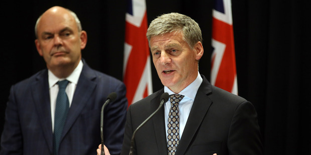 Prime Minister Bill English, right, and Finance Minister Steven Joyce, announcing the government is to raise the age for super to 67 in 2040. NZH photo by Mark Mitchell.
