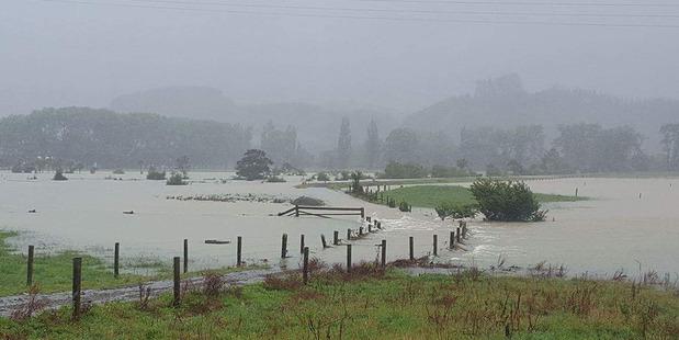 Flooding at Hikuai, between Tairua and Pauanui. Photo / Supplied by Christine Hatton