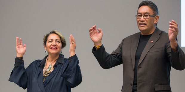 Marama Fox from the Maori Party and Hone Harawira from the Mana Movement Party perform a karakea. Photo / Greg Bowker