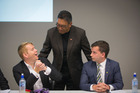 Hone Harawira from the Mana Movement Party greets Chris Hipkins, Labour Party, and David Seymour, from ACT before the first election debate at the University of Auckland. Photo / Greg Bowker