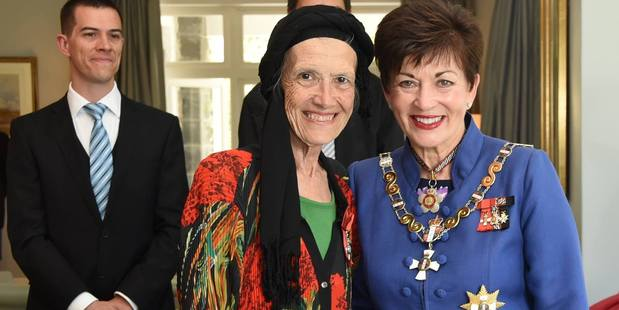 Lynda Williams with Governor General Dame Patsy Reddy at her investiture ceremony last month. Photo / Sourced via Governor General's Facebook