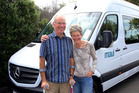 Ed and Valerie Fielder with their replacement motorhome after accident on SH3 Whanganui on Saturday.  PHOTO/STUART MUNRO